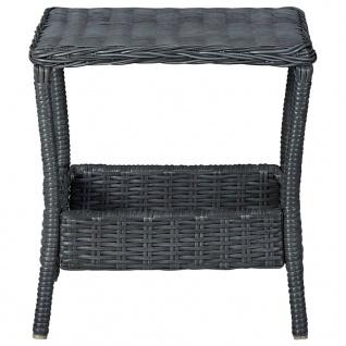 vidaXL 3-tlg. Garten-Lounge-Set mit Auflagen Poly Rattan Dunkelgrau - Vorschau 3