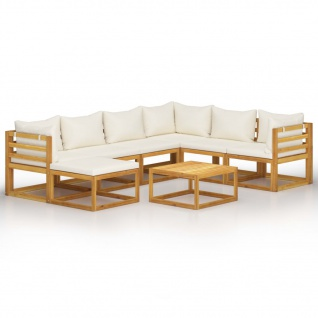 vidaXL 8-tlg. Garten-Lounge-Set mit Auflagen Creme Massivholz Akazie