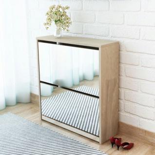 vidaXL Schuhschrank mit 2 Fächern Spiegel Eiche-Optik 63x17x67 cm