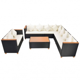 vidaXL 6-tlg. Garten-Lounge-Set mit Auflagen Poly Rattan Schwarz - Vorschau 3
