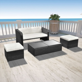 vidaXL 4-tlg. Garten-Lounge-Set mit Auflagen Poly Rattan Schwarz - Vorschau 1