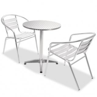 vidaXL Bistro-Set 3-tlg. Runder Tisch und stapelbare Stühle Aluminium