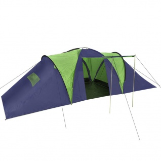 vidaXL Campingzelt 9 Personen Stoff Blau/Grün