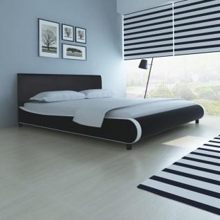 vidaXL Bett mit Matratze Kunstleder 180 x 200 cm Schwarz