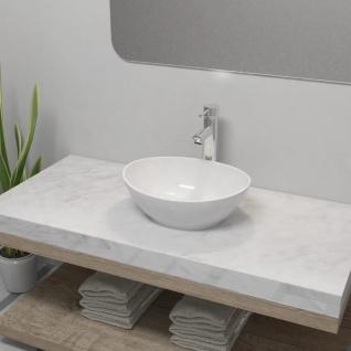 vidaXL Bad-Waschbecken mit Mischbatterie Keramik Oval Weiß