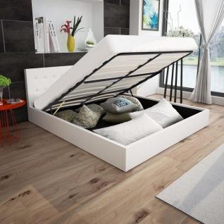 vidaXL Bett mit Gasfeder und Matratze Kunstleder 160x200 cm weiß