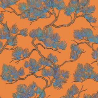 Dutch Wallcoverings Tapete Kiefer-motiv Blau Und Orange - Vorschau 2