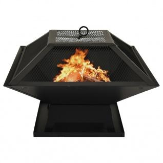 vidaXL 2in1 Feuerschale und Grill mit Schürhaken 46, 5x46, 5x37 cm Stahl