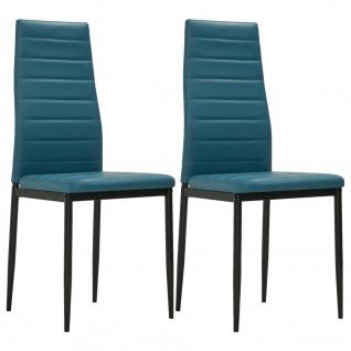 vidaXL Esszimmerstühle 2 Stk. Meeresblau Kunstleder