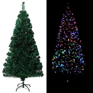 vidaXL Künstlicher Weihnachtsbaum mit Ständer Grün 120 cm Fiberoptik