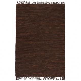 vidaXL Handgewebter Chindi-Teppich Leder 120 x 170 cm Braun