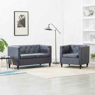 vidaXL Chesterfield Sofa-Set 2-tlg. Stoffpolsterung Grau
