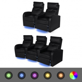 vidaXL LED-Ruhesessel 2 Stk. 2+3 Sitze Kunstleder Schwarz