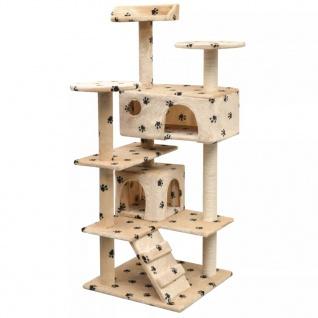 vidaXL Katzen-Kratzbaum 125 cm Pfoten-Aufdruck Beige