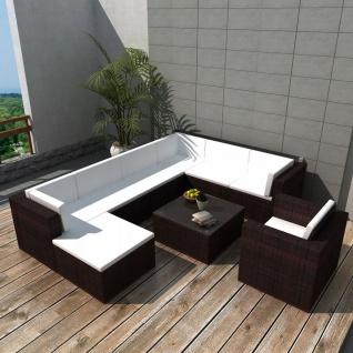 vidaXL 9-tlg. Garten-Lounge-Set mit Auflagen Poly Rattan Braun