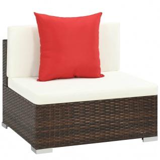 vidaXL 7-tlg. Garten-Lounge-Set mit Auflagen Poly Rattan Braun - Vorschau 5