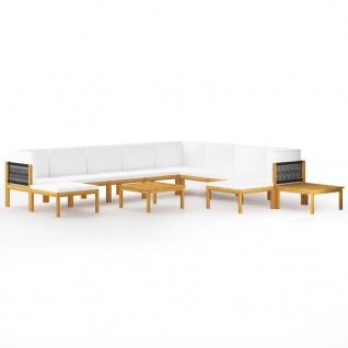 vidaXL 12-tlg. Garten-Lounge-Set mit Kissen Cremeweiß Massivholz Akazie