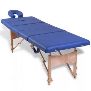 Massagetisch mit Holzrahmen, faltbar 4 Zonen Blau