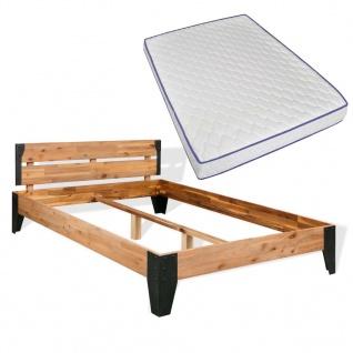 vidaXL Bett mit Memory-Matratze Massives Akazienholz Stahl 140x200cm