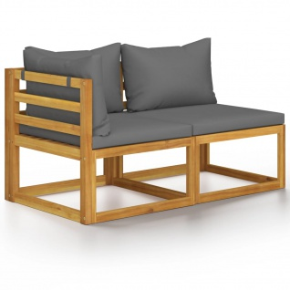 vidaXL 2-tlg. Sofa-Set mit dunkelgrauen Kissen Akazie Massivholz