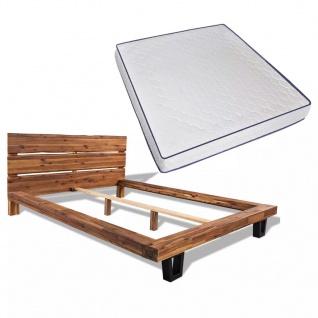 vidaXL Bett mit Memory-Schaum-Matratze Akazienholz Massiv 180 x 200 cm