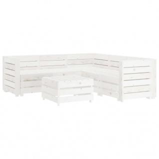 vidaXL 6-tlg. Garten-Lounge-Set aus Paletten Holz Weiß