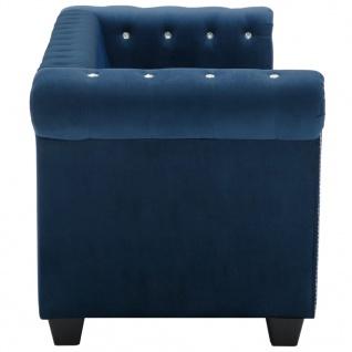 vidaXL Chesterfield Sofa 3-Sitzer Samtbezug 199x75x72cm Blau - Vorschau 5