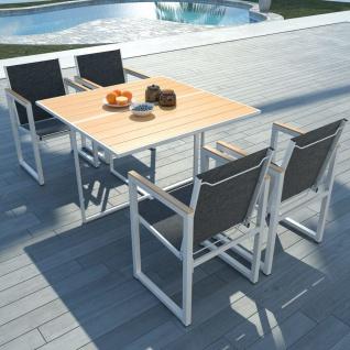 vidaXL 5-tlg. Garten-Essgruppe mit WPC-Tischplatte Aluminium