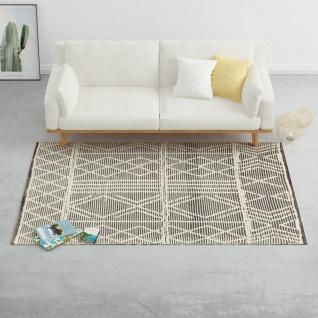 vidaXL Teppich Handgewebt Wolle 120×170 cm Schwarz/Weiß - Vorschau