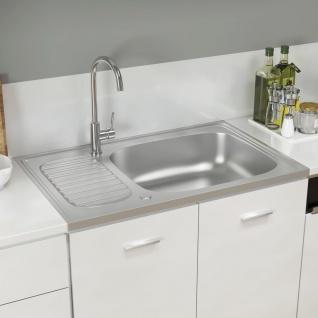 vidaXL Küchenspüle mit Abtropfset Silbern 800x500x155 mm Edelstahl