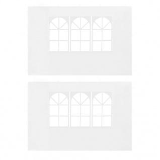 vidaXL Partyzelt-Seitenwände 2 Stück mit Fenster PE Weiß