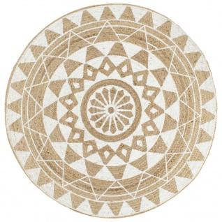 vidaXL Teppich Handgefertigt Jute mit weißem Aufdruck 120 cm