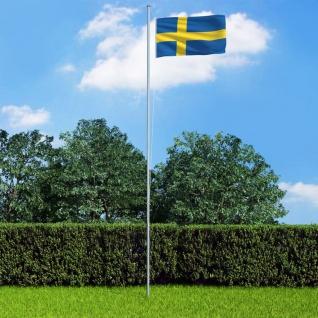 vidaXL Flagge Schwedens und Mast Aluminium 6, 2 m
