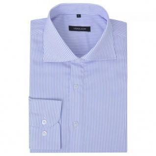 vidaXL Herren Business-Hemd weiß und hellblau gestreift Gr. XXL