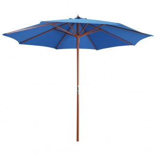 vidaXL Sonnenschirm mit Holz-Mast 300 x 258 cm Blau