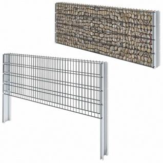 vidaXL Gabionenzaun Stahl Verzinkt 2, 008x0, 83 m Gesamtlänge 20 m Grau