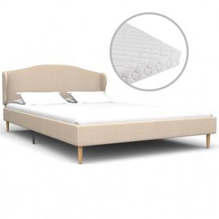 vidaXL Bett mit Matratze Beige Stoff 120 x 200 cm