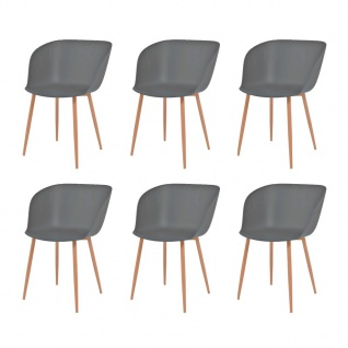 vidaXL Esszimmerstühle 6 Stk. Grau Kunststoffsitz Stahlbeine