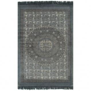 vidaXL Kelim-Teppich Baumwolle 120x180 cm mit Muster Grau