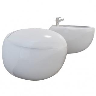 Wand-Hänge WC Toilette +Hänge Bidet+ SoftClose Weiß - Vorschau 2