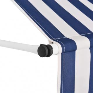 vidaXL Einziehbare Markise Handbetrieben 300 cm Blau/Weiß Gestreift - Vorschau 2