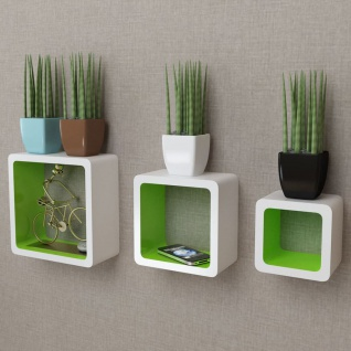 3er Set MDF Wandregal Hängeregal Cube Regal für Bücher/DVD, weiß-grün