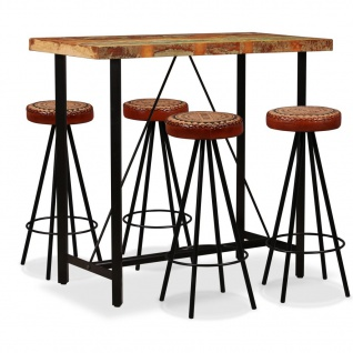 vidaXL Bar-Set 5-tlg. Altholz Massiv, Echtleder und Canvas