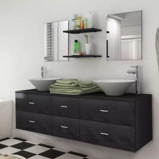 vidaXL 9-tlg. Badmöbel-Set mit Waschbecken und Wasserhahn Schwarz