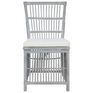 vidaXL Esszimmerstühle mit Kissen 4 Stk. Grau Natur Rattan - Vorschau 3