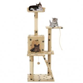 vidaXL Katzen-Kratzbaum Sisal 120 cm Beige Pfoten-Aufdruck