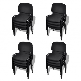 vidaXL Stapelbare Bürostühle 16 Stk. Stoff Schwarz
