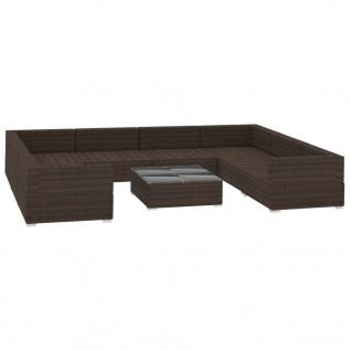 vidaXL 9-tlg. Garten-Lounge-Set mit Auflagen Poly Rattan Braun - Vorschau 3