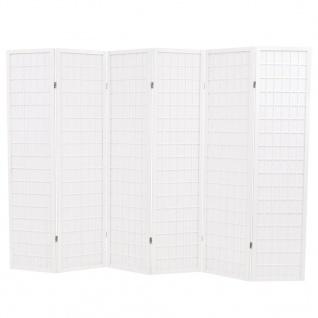 vidaXL 6-tlg. Raumteiler Japanischer Stil Klappbar 240 x 170 cm Weiß