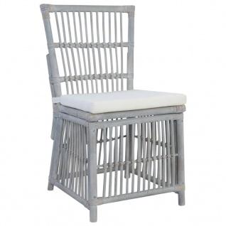 vidaXL Esszimmerstühle mit Kissen 4 Stk. Grau Natur Rattan - Vorschau 2